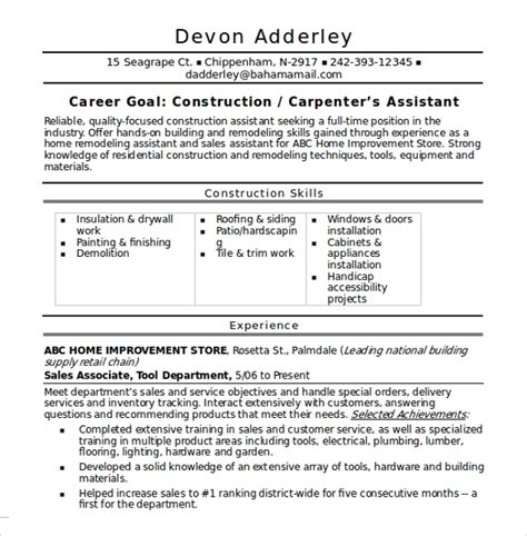 sample construction resume template   documents