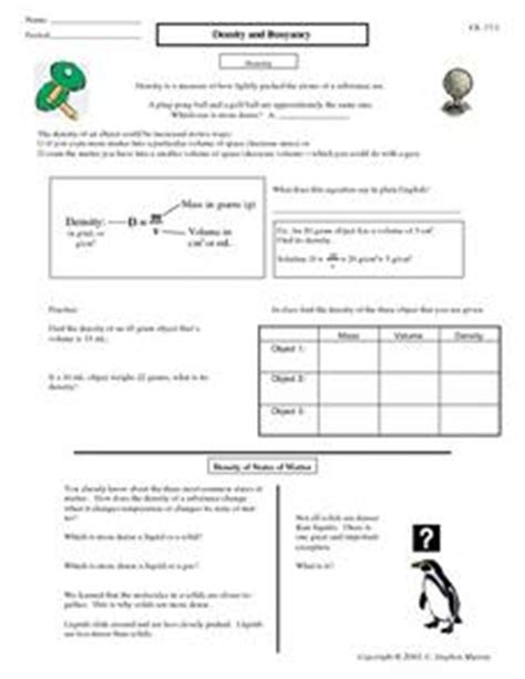 Density And Buoyancy 8th  10th Grade Worksheet  Lesson Planet