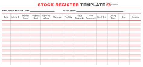 stock register book format samples templates  excel