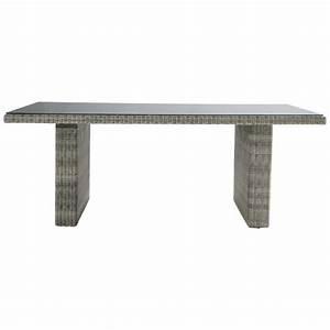Table De Jardin Grise : table de jardin en verre tremp et r sine tress e grise l ~ Teatrodelosmanantiales.com Idées de Décoration