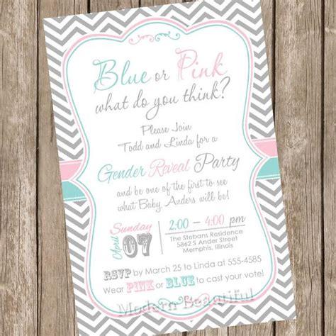 chevron gender reveal invitation baby reveal invite printable