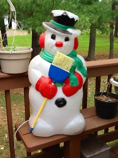 vintage large lighted blow snowman large vintage snowman w broom by christmasnotions
