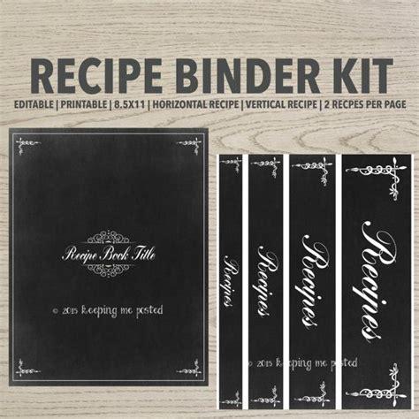 chalkboard recipe binder printable kit editable diy