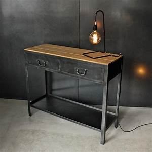 Console Metal Et Bois : console industrielle bois et m tal l les nouveaux brocanteurs ~ Teatrodelosmanantiales.com Idées de Décoration