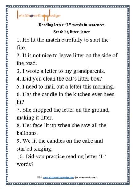 Letter Sentences by Kindergarten Reading Practice For Letter Quot L Quot Words In