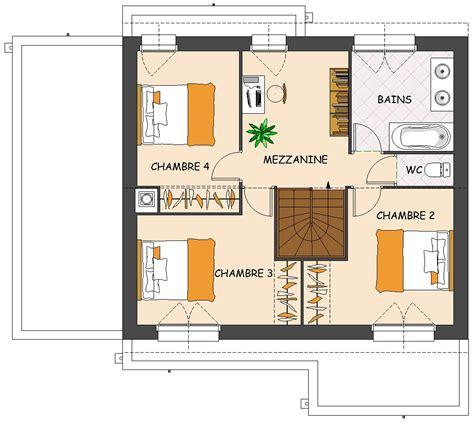 plan maison moderne 5 chambres plan de maison contemporaine 4 chambres avec mezzanine