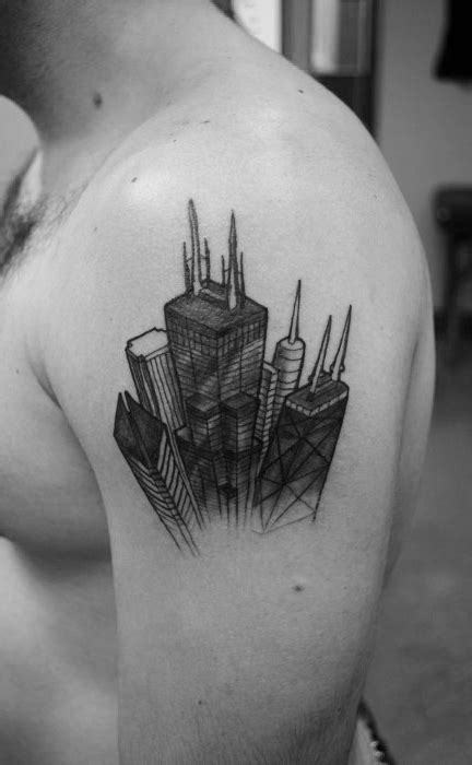 20 Chicago Skyline Tattoo Designs For Men - Urban Center Ink