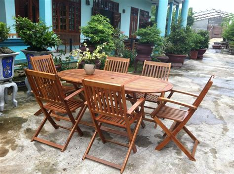 garden oval table  chairs wooden patio outdoor dining