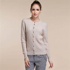Women's Long Sleeve Knitted Cashmere Cardigan Sweater ...