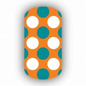 Light Orange with Aqua & White Retro Polka Dots Nail Wraps