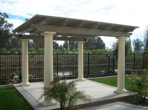 Beautiful Freestanding Patio Cover With Roman Columns.