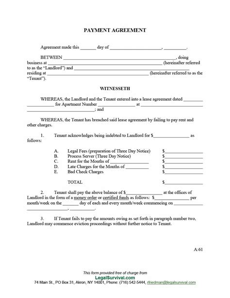 payment agreement  templates contracts templatelab