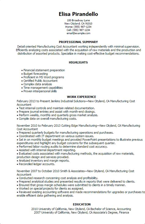 cost accountant resume sles 28 images