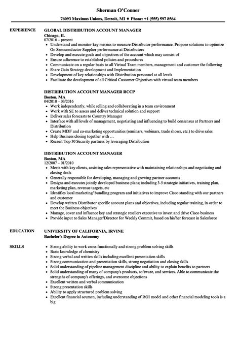 Account Manager Resume by Distribution Account Manager Resume Sles Velvet