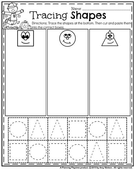 october preschool worksheets tracing shapes fall