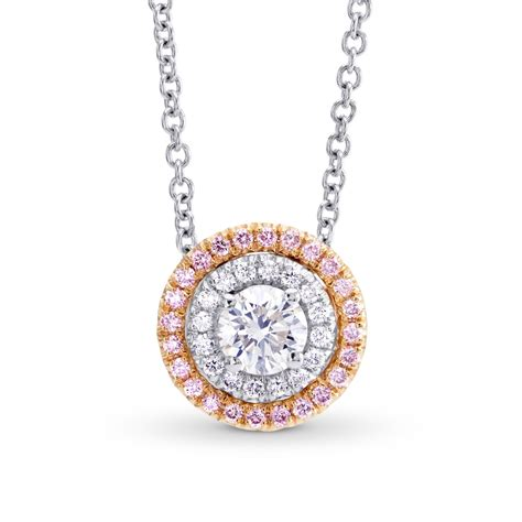 Colorless & Pink Diamond Double Halo Pendant, Sku 128378. Light Bulb Pendant. Gem Diamond. Emrald Rings. Enhanced Diamond. Simon G Bands. Flat Round Stud Earrings. Wired Necklace. Gold Ankle Chain
