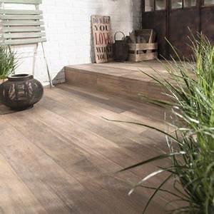 Carrelage sol beige effet bois way l15 x l90 cm leroy for Carrelage exterieur aspect bois