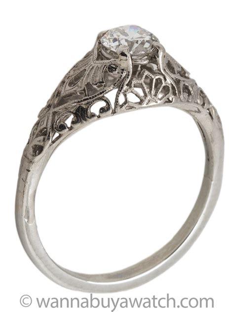 romantic vintage platinum filigree diamond engagement ring