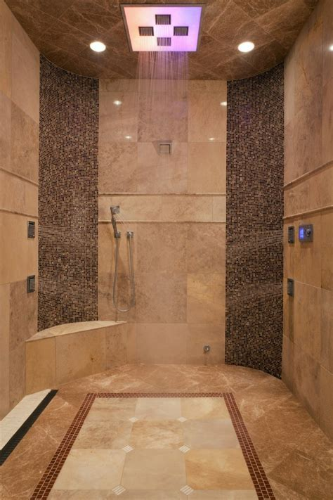 multi jet shower Bathroom Traditional with beige tile