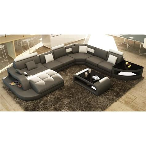 grand canapé d angle 8 places canapé d 39 angle design panoramique gris et blanc achat