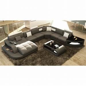 Canapé Panoramique 10 Places : canap d 39 angle design panoramique gris et blanc achat vente canap sofa divan cdiscount ~ Teatrodelosmanantiales.com Idées de Décoration