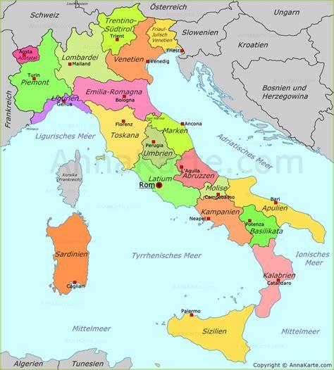 italien regionen karte deutsch kleve landkarte