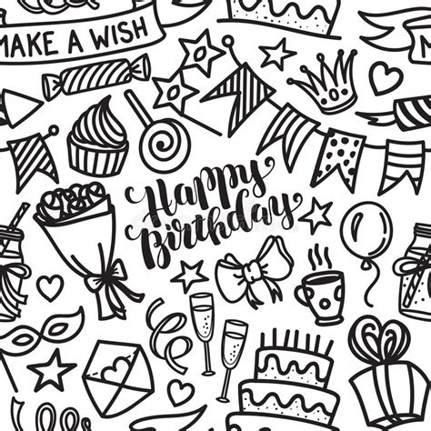 happy birthday lettering and doodle seamless pattern stock