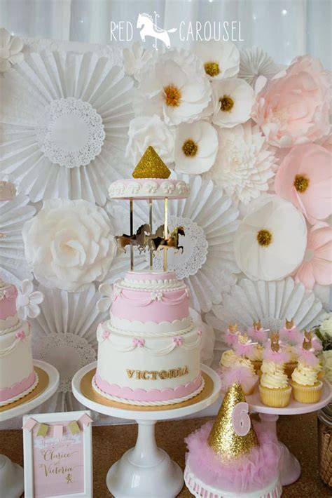 a pink gold carousel 1st birthday party party ideas 57 best carousel themed dessert table images on