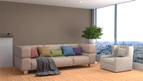 rendering modern living room   loft stock footage