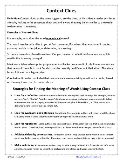 context clues reading comprehension strategy  pager