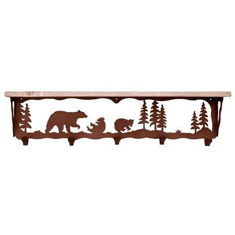 Bear Family Coat Rack with Shelf   34 Inch