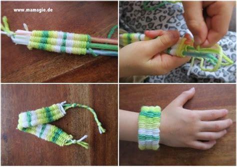 liegestuhl basteln mit strohhalmen armband weben mit strohhalmen basteln mit kindern