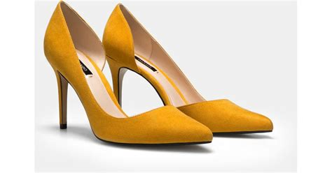 mustard colored shoes mango stiletto shoes in yellow lyst