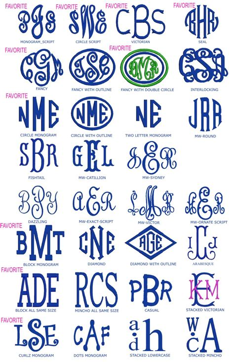 preppy monogrammed gifts fonts