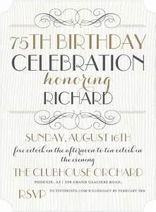 The Best 75th Birthday Invitations and Party Invitation ...