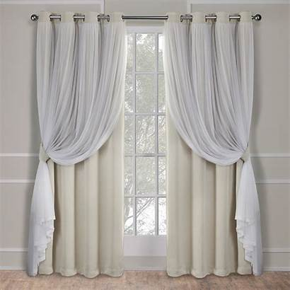 Curtains Grommet Curtain Sheer Blackout Panels Layered