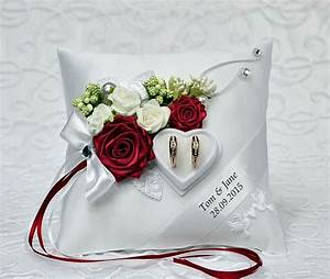 Personalized wedding ring cushion pillow with rings for Personalized wedding rings