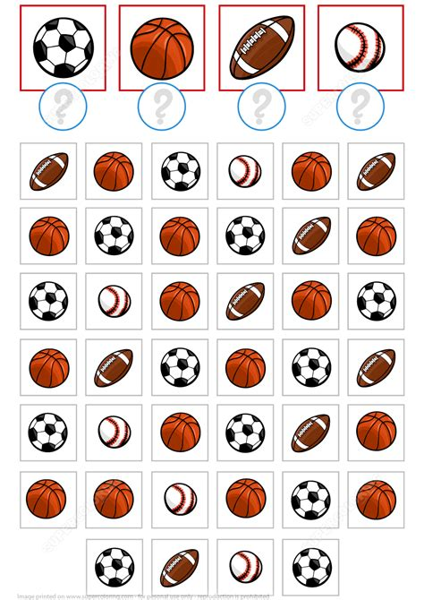Count Sport Balls Math Puzzle Worksheet
