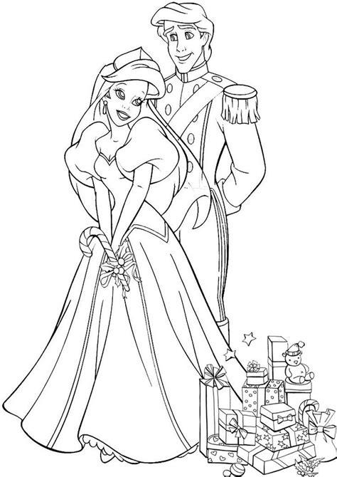 kolorowanka księżniczka ariel i książe mała syrenka nr 15