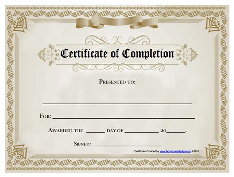 Certificate Templates: 13 Certificate of Completion ...