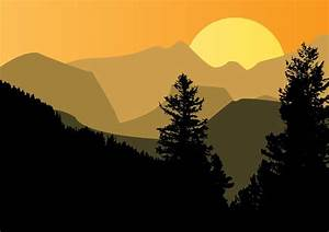 Mountain Sunset Vector Art & Graphics | freevector.com