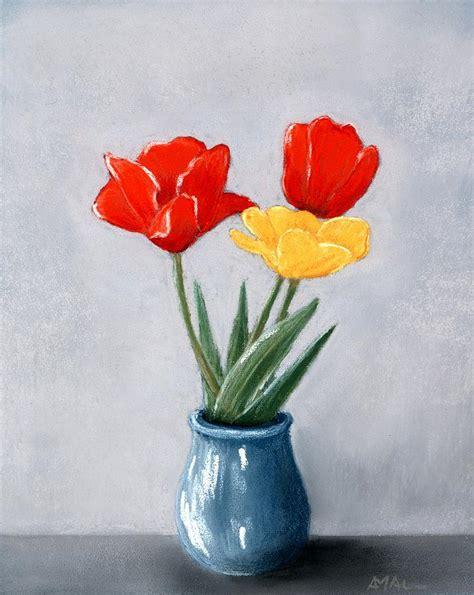 flowers in a vase three flowers in a vase painting by anastasiya malakhova