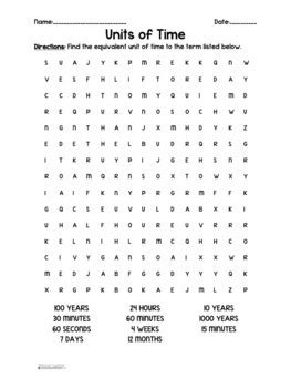 telling time units  time word search  spedder