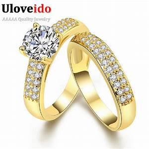 Uloveido jewelry promise engagement double rings for for Promise engagement wedding ring set