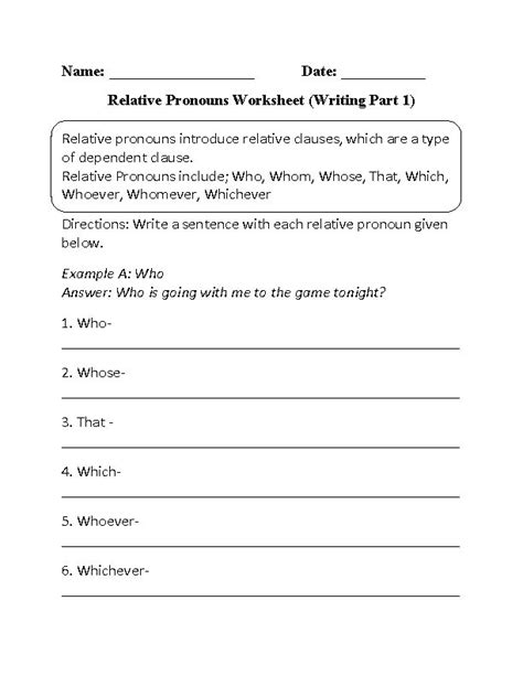 Writing Relative Pronouns Worksheet Part 1 Beginner  Worksheets  Pinterest Pronoun