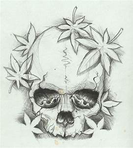 Simple Skull Sketch Drawing With Marple Leaves | Tattoosk ...
