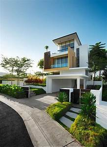 Modern Contemporary Home Exterior In White With Unique Wood Balcony