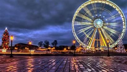 Paris Ferris France Wheel Christmas Background Cityscape