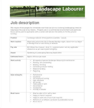 basic description template 10 landscaping description templates pdf doc free premium templates