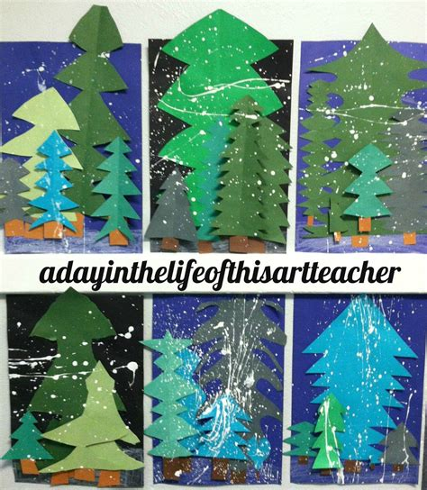 winter pine trees  images winter art lesson